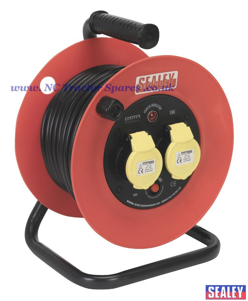 Cable Reel 25mtr 2 x 110V 1.5mm Heavy-Duty Thermal Trip